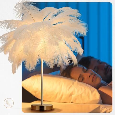 """23.62""""H Gold & White Feather Tripod Table Lamp With Bulbs"""