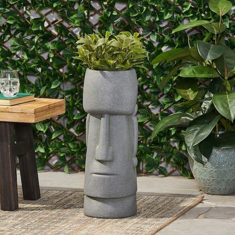 Sumner Outdoor Cast Stone Outdoor Polynesian Decorative Planter by Christopher Knight Home
