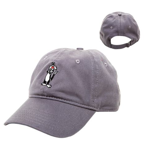 Official Sylvester Looney Tunes Men's Baseball Cap w/Embroidered Character, Black, One Size