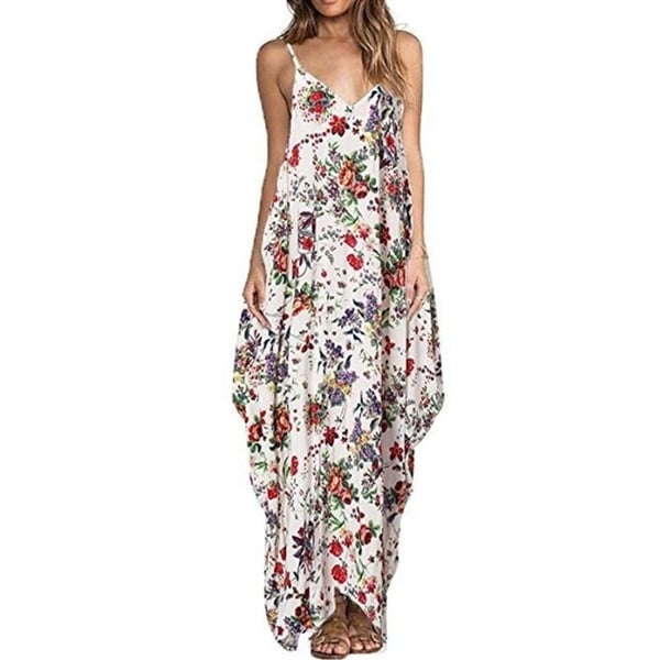 295c72907003b7 Print Floral Loose Boho Bohemian Beach Dress Women Sexy Strap V-Neck Retro  Vintage Long