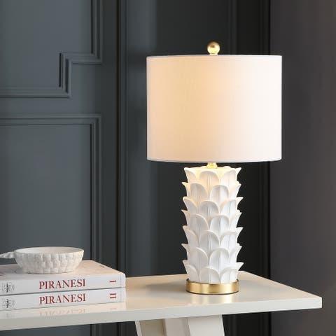 "SAFAVIEH Lighting 25-inch Nico White/ Gold LED Table Lamp (Set of 2) - 13""x13""x25"""