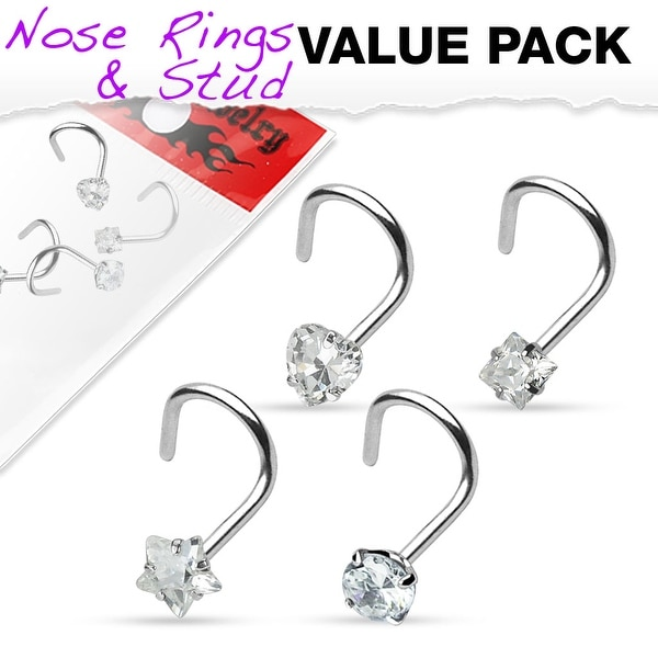 4 Pcs Value Pack of Assorted Clear Prong Set CZ Gem 316L Surgical Steel Nose Screw