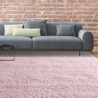 LUXURIOUS AND THICK DOUBLE TEXTURED SHAG AREA RUG IN BLUSH PINK