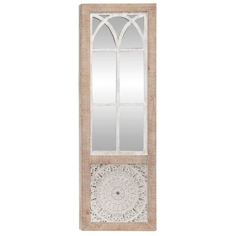 """16"""" x 47"""" Vintage Rectangular Wood Wall Mirror w Cathedral Frame Overlay and Carved Mandala Design Inlay - 16 x 2 x 47"""