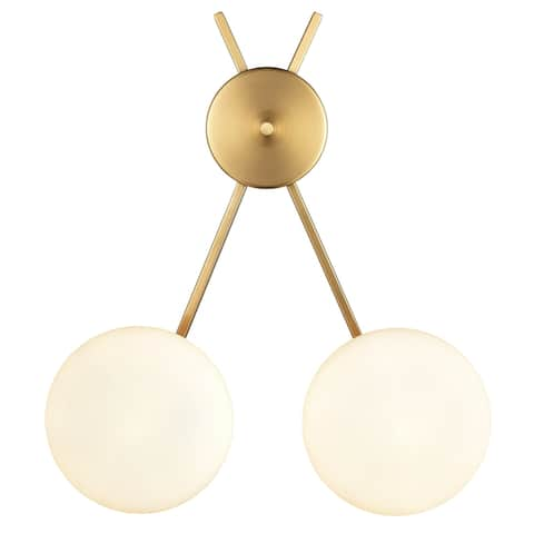 Light Society Alby 2-Light Wall Sconce - Brushed Brass/White