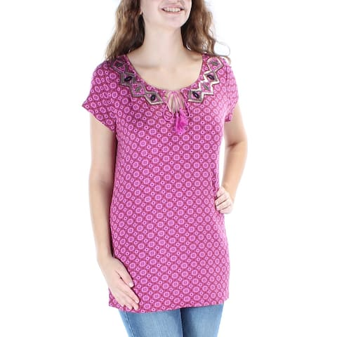 R&M RICHARDS Womens Pink Sequined Embellished Printed Cap Sleeve V Neck T-Shirt Top Size: XS