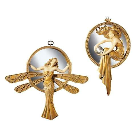 Design Toscano Art Deco Wall Mirrors: Set of Dragonfly & Lady of the Lake - Antique Gold - Dragonfly: 13 x 11 Lake: 7 x 11.5