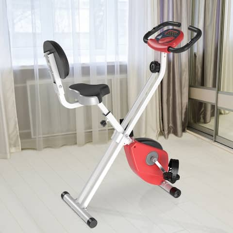 Soozier Folding Upright Training Stationary Indoor Bike with 8 Levels of Magnetic Resistance for Aerobic Exercise