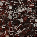 Miyuki 4mm Glass Cube Beads Transparent Dark Brown 134 10 Grams - Thumbnail 0