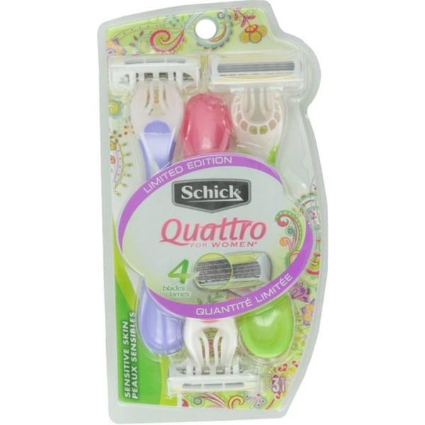 Schick Quattro For Women Disposable Razors, Sensitive Skin 3 ea