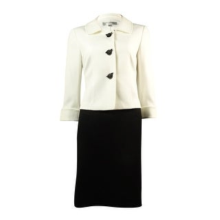 Tahari Women's Cuff Sleeve Three Button Woven Skirt Suit - ivory white/black - 4P