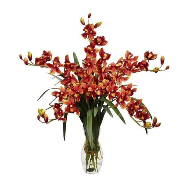 Nearly Natural Cymbidium Orchid Silk Flower Arrangement