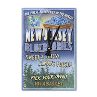 NJ - Blueberry Farm Vintage Sign - LP Artwork (Acrylic Wall Clock) - acrylic wall clock