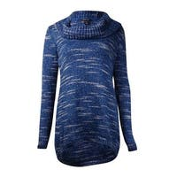 Style & Co. Women's High Low Cowl Neck Sweater - tranquil sea combo