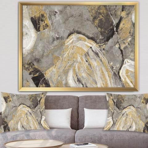 Designart 'Painted Gold Stone' Modern Framed Art Print