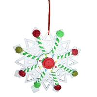 """5.5"""" Sweet Memories Glittered Button and Spearmint Snowflake Christmas Ornament - WHITE"""