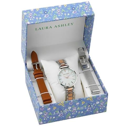 Laura Ashley Womens 34mm Watch Set 3 Interchangeable Straps