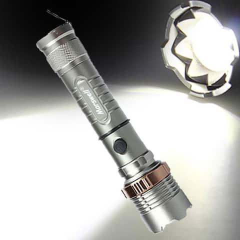 2000lm 3-Mode Waterproof Lotus Head LED Flashlight Suit Gray