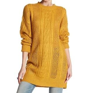 John + Jenn Yellow Mustard Women's Small S Cable Knit Tunic Sweater