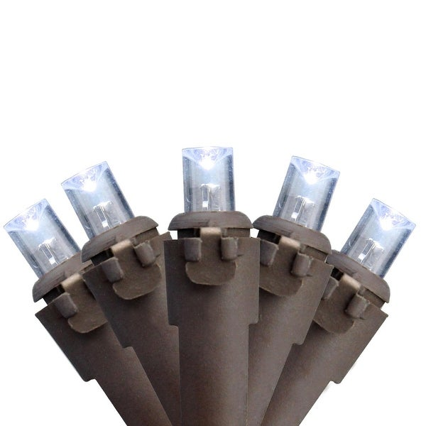 Set of 50 Pure White LED Wide Angle Christmas Lights on Brown Wire