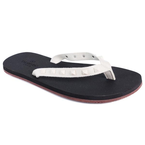 Valentino Men's Rockstud White Studded Flip Flops