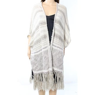 Polo Ralph Lauren NEW Beige Women Size Small S Slub Knit Fringed Poncho