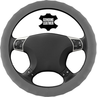KM World Gray 14.5-15 Inch PU Leather Steering Wheel Cover With Finger Indentations, Fits Honda CRV