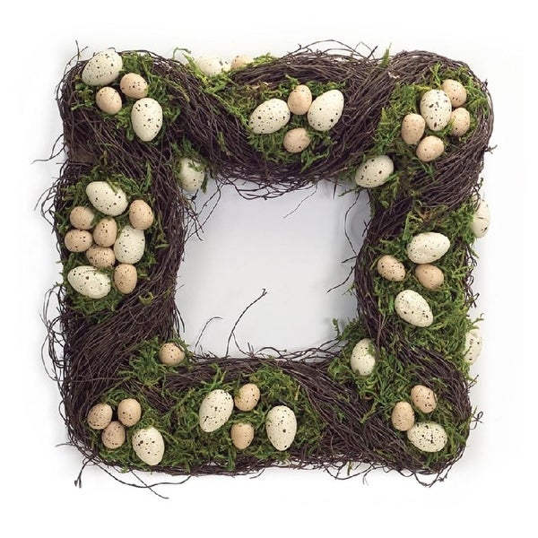Pack of 2 Square Easter and Springtime Speckled Tan Eggs with Moss Wreaths 15""
