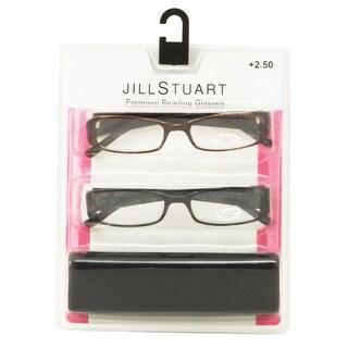 Jill Stuart Womens 2 Pack Plastic Reading Glasses +2.5 Black/Brown JS005, Includes Jill Stuart Hard Fashion Case