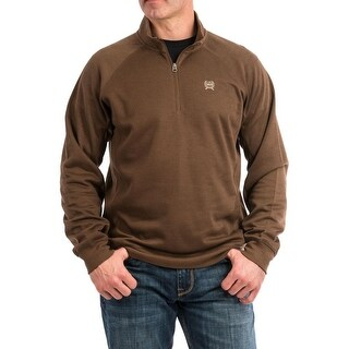 Cinch Western Sweater Mens 1/4 Zip Rib Knit Collar Brown