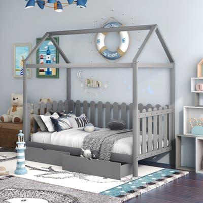 Nestfair Twin Size House Bed with Fence-shaped Guardrail and Drawers