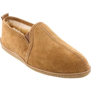 Minnetonka Men's Twin Gore Sheepskin Golden Tan Suede/Sheepskin