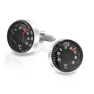 Bling Jewelry Stainless Steel Plated Usable Mens Degree Celsius Thermometer Cufflinks
