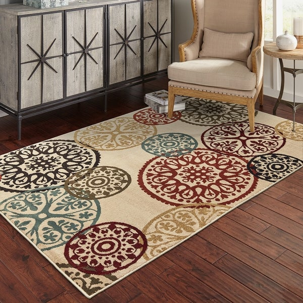 Copper Grove Rovinj Floating Medallion Beige and Multicolored Area Rug. Opens flyout.