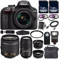 Nikon D3400 DSLR Camera with AF-P 18-55mm VR Lens (Black) International Model + Nikon 55-300mm f/4.5-5.6G ED VR Lens Bundle