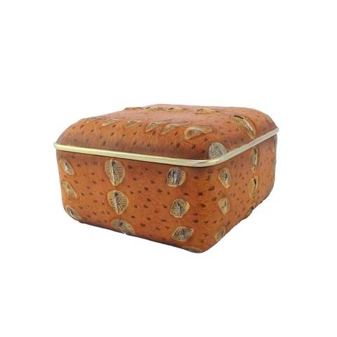 Alluring Polyresin Sturgeon Box, Orange And Gold