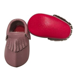 Baby Girls Lilac Red Soft Sole Faux Leather Tassel Moccasin Crib Shoes 3-18M