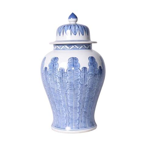 Blue And White Porcelain Temple Jar Banana Leaf Motif - 11x11x18