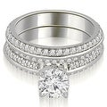 1.45 cttw. 14K White Gold Knife Edge Matching Round Cut Diamond Bridal Set - Thumbnail 0