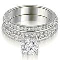 1.95 cttw. 14K White Gold Knife Edge Matching Round Cut Diamond Bridal Set - Thumbnail 0