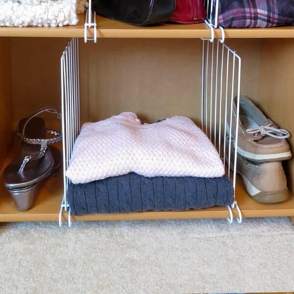 Evelots Wood Shelf Divider//Separator-Closet//Office-New Extra Steel Bracket-Set//4