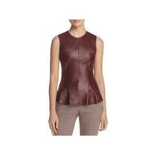 Theory Womens Blouse Lamb Leather Sleeveless