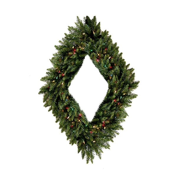 "48"" Pre-Lit Camdon Fir Diamond Shaped Artificial Christmas Wreath - Multi Lights - green"