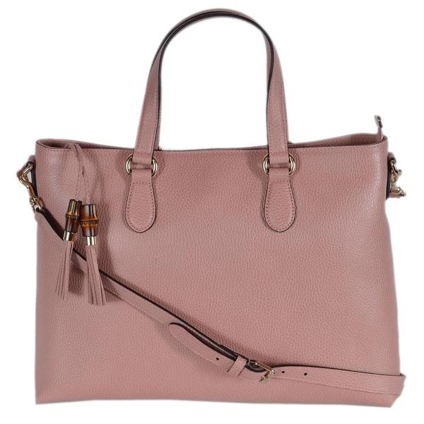 1cbee08b4 Gucci 449643 Pink Leather Convertible Bamboo Tassel Purse Handbag -  Geranium Pink