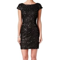 Adrianna Papell Black Women's Size 6 Sequin Lace Sheath Dress
