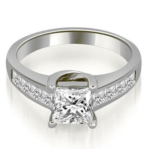 1.00 ct.tw 14K White Gold Channel Princess Cut Diamond Engagement Bridal Ring HI, SI1-2