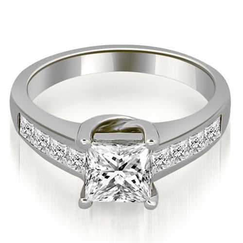1.25 cttw. 14K White Gold Channel Princess Cut Diamond Engagement Ring