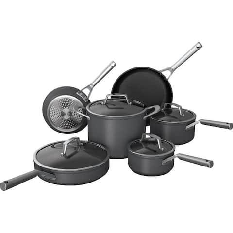 Ninja C39500 Foodi NeverStick Premium Hard-Anodized 10-Piece Cookware Set, Slate Grey