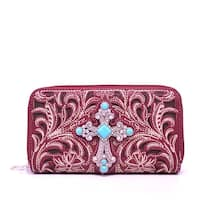 Aw-1155 Spiritual Cross Double Zipper Western Wallet - Color - Red