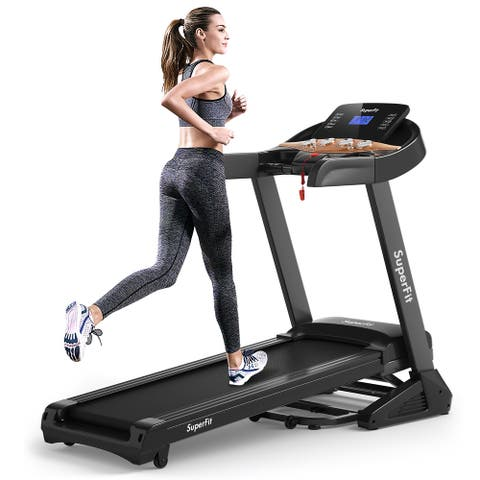 Superfit 3.75HP Electric Folding Treadmill W/Auto Incline 12 Program - See details